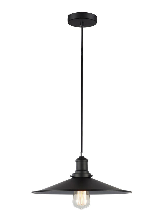 CLA Lighting Piatto Large Industrial Metal Pendant Black Coolie