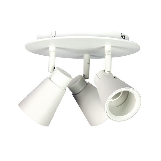 Spot Light Round Three GU10 in White or Brushed Steel Zoom Oriel Lighting - Alpha Lighting & Electrics