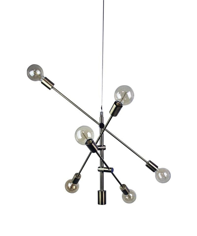 Pendant Six Light Adjustable Brass or Black E27 in 85cm Chelsea Oriel Lighting - Alpha Lighting & Electrics