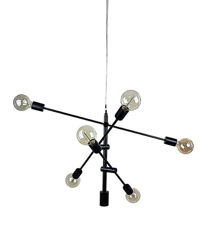 Pendant Six Light Adjustable Brass or Black E27 in 85cm Chelsea Oriel Lighting