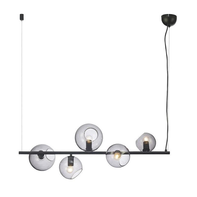 Pendant Light Five Matt Black w Smoke Glass E27 in 120cm Sinus Oriel Lighting - Alpha Lighting & Electrics