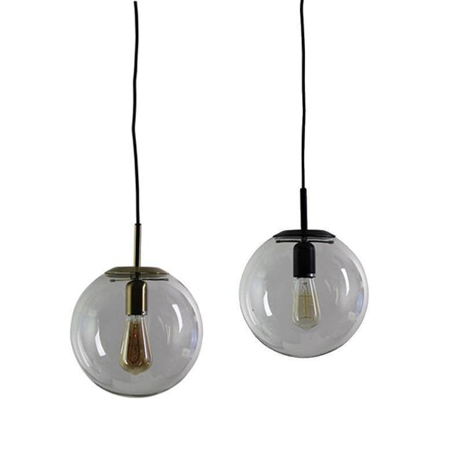 NEWTON.25 Clear Glass Pendant Light in Matt Black or Brass Oriel Lighting - Alpha Lighting & Electrics