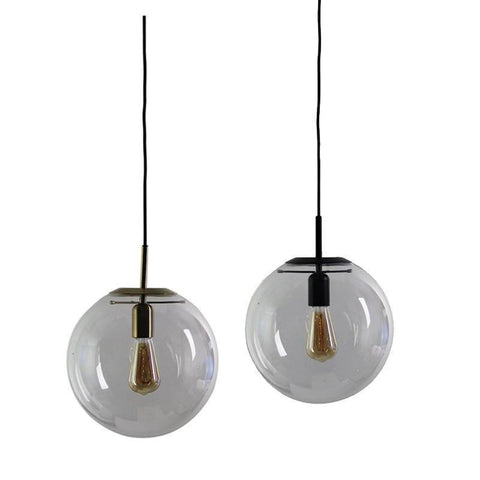 NEWTON.30 Clear Glass Pendant Light in Matt Black or Brass Oriel Lighting - Alpha Lighting & Electrics