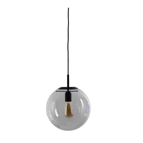 NEWTON.30 Clear Glass Pendant Light in Matt Black or Brass Oriel Lighting