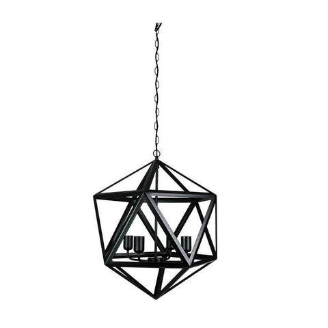 Pendant Light Four Geometric Satin Black E27 in 70cm Oriel Lighting - Alpha Lighting & Electrics