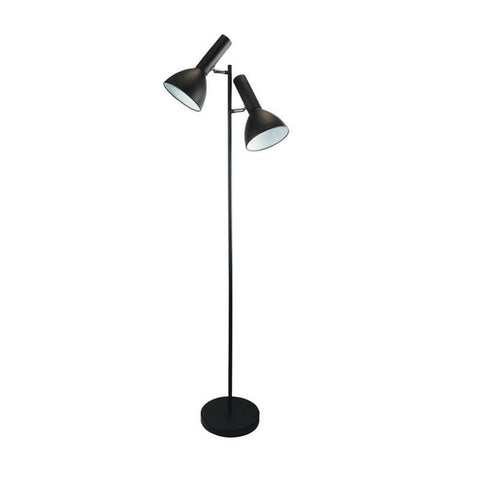 Floor Lamp Twin Head Adjustable in Black or Chrome 150cm Vespa Oriel Lighting - Alpha Lighting & Electrics