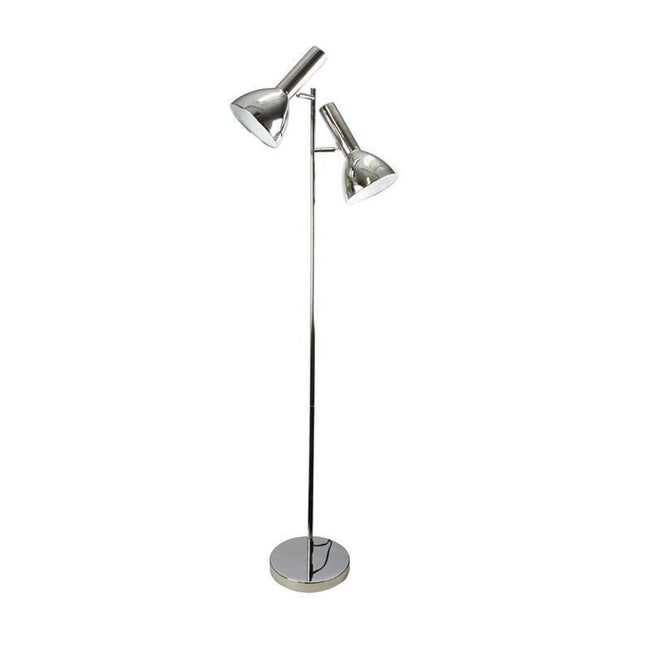Floor Lamp Twin Head Adjustable in Black or Chrome 150cm Vespa Oriel Lighting | Alpha Lighting & Electrics