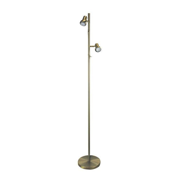 LED Floor Lamp Twin Adjustable Black White Brass or Chrome 159cm Daxam Oriel - Alpha Lighting & Electrics