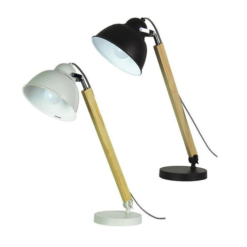 Table Lamp Adjustable Black or White E27 in 60cm Steam Oriel Lighting - Alpha Lighting & Electrics