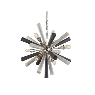 CLA Lighting Sputnik Pendant Wood and Polished Nickel