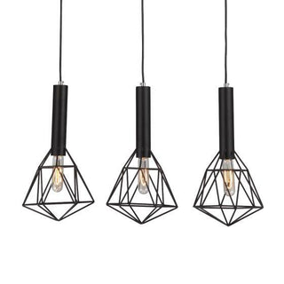 CLA Lighting Black Cage 3 light Diamond Pendant