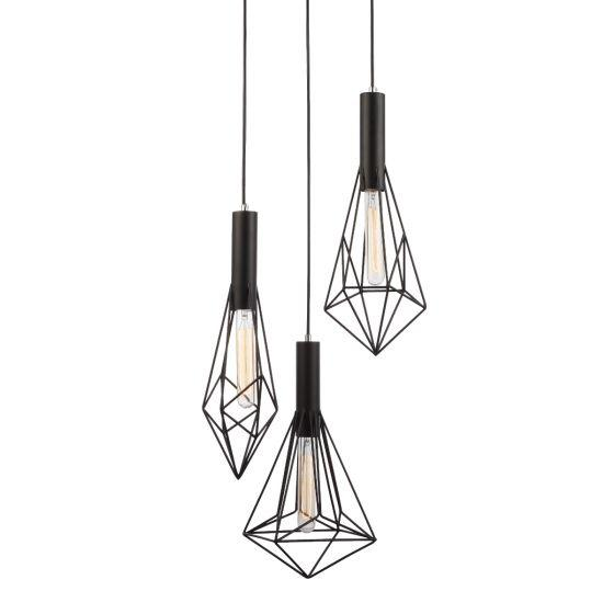 CLA Lighting Black Cage 3 Light Diamond Pendant - Blackband 2x3