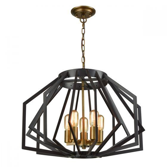 CLA Lighting Gamba Wide Angular Cage 5 Light Pendant Black