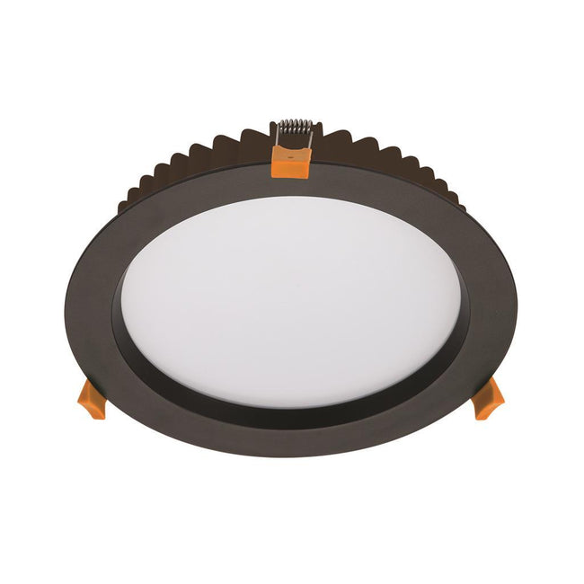 Domus Lighting DECO-28 Round 28W Dimmable LED Downlight - Black Frame | Alpha Lighting & Electrics