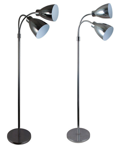 Floor Lamp Twin Adjustable in Chrome Black or Gunmetal 140cm Retro Oriel - Alpha Lighting & Electrics