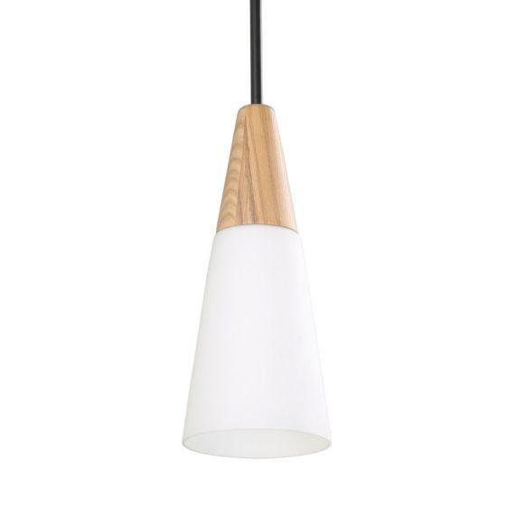 CLA Lighting Finn Blonde Wood and Glass Pendant