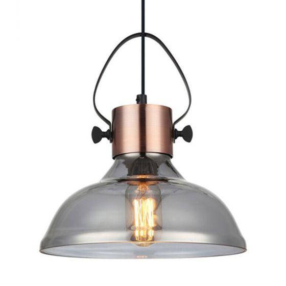 CLA Lighting Fumoso Copper and Glass Dome Pendant