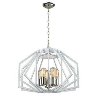CLA Lighting Gamba Wide Angular Cage 5 Light Pendant White