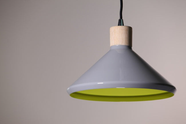 Bengt Pendant Wood Veneer Grey 28cm She Lights | Alpha Lighting & Electrics