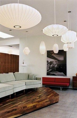 George Nelson Saucer Bubble Pendant Lamp Light White 40cm , 63cm or 90cm - Alpha Lighting & Electrics