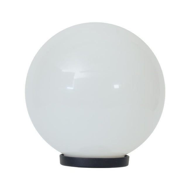 Domus Lighting POLYSPHERE 300mm Sphere 240V Polycarbonate Garden Light - Black Base - E27 | Alpha Lighting & Electrics
