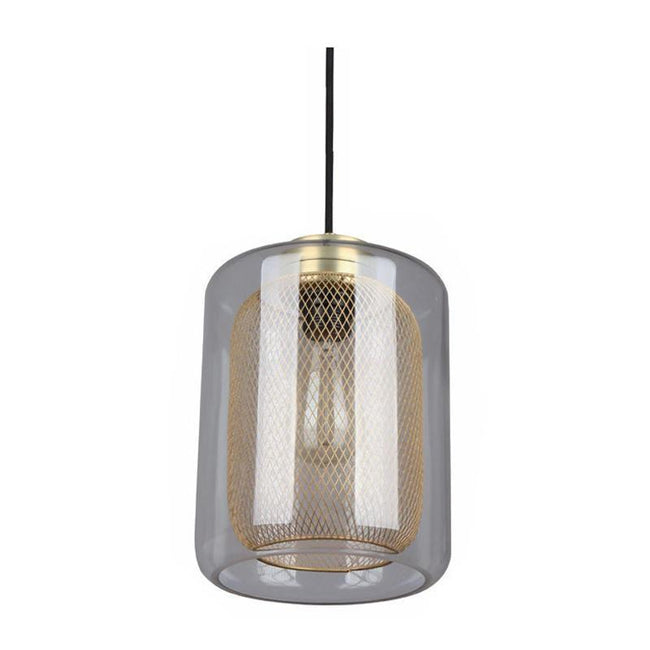 CLA Lighting Tono Oblong Glass Pendant in Black Copper and Brass Mesh