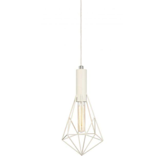 CLA Lighting White Cage Single Light Diamond Pendant