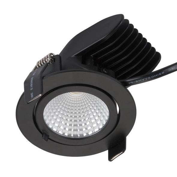 Domus Lighting SCOOP-13 Round 13W Adjustable LED Downlight - Matt Black Frame | Alpha Lighting & Electrics