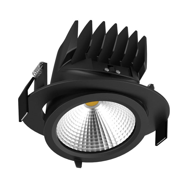 Domus Lighting SCOOP-25 Round 25W Adjustable LED Downlight - Black Frame | Alpha Lighting & Electrics