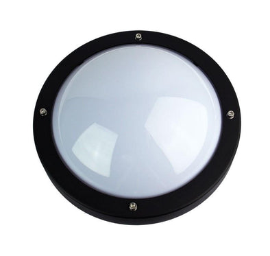 Wall Light Outdoor Round E27 in Black Graphite or White 27cm Primo Oriel | Alpha Lighting & Electrics