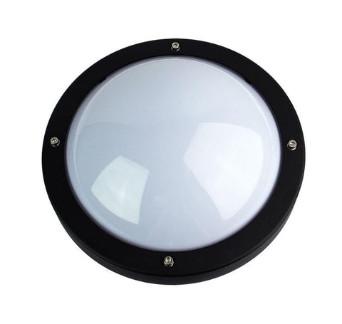 Wall Light Outdoor Round E27 in Black Graphite or White 27cm Primo Oriel - Alpha Lighting & Electrics