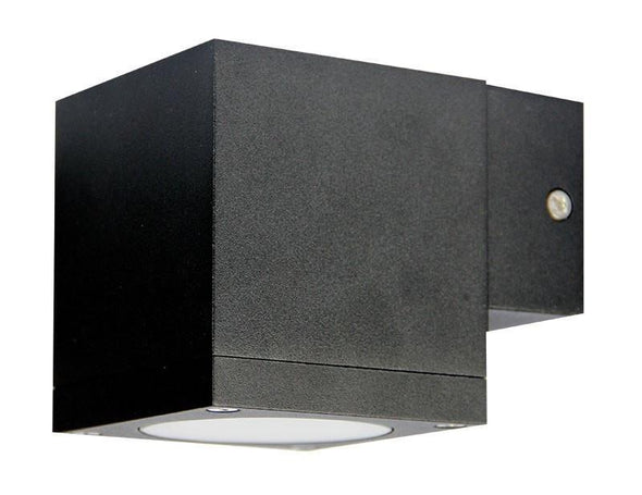 Wall Light Outdoor GU10 in Black Graphite or White 9cm Kube Oriel Lighting - Alpha Lighting & Electrics