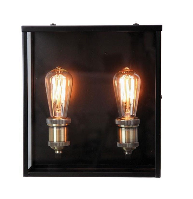 Wall Light Outdoor Twin Matt Black E27 in 30cm Oakland Oriel Lighting - Alpha Lighting & Electrics