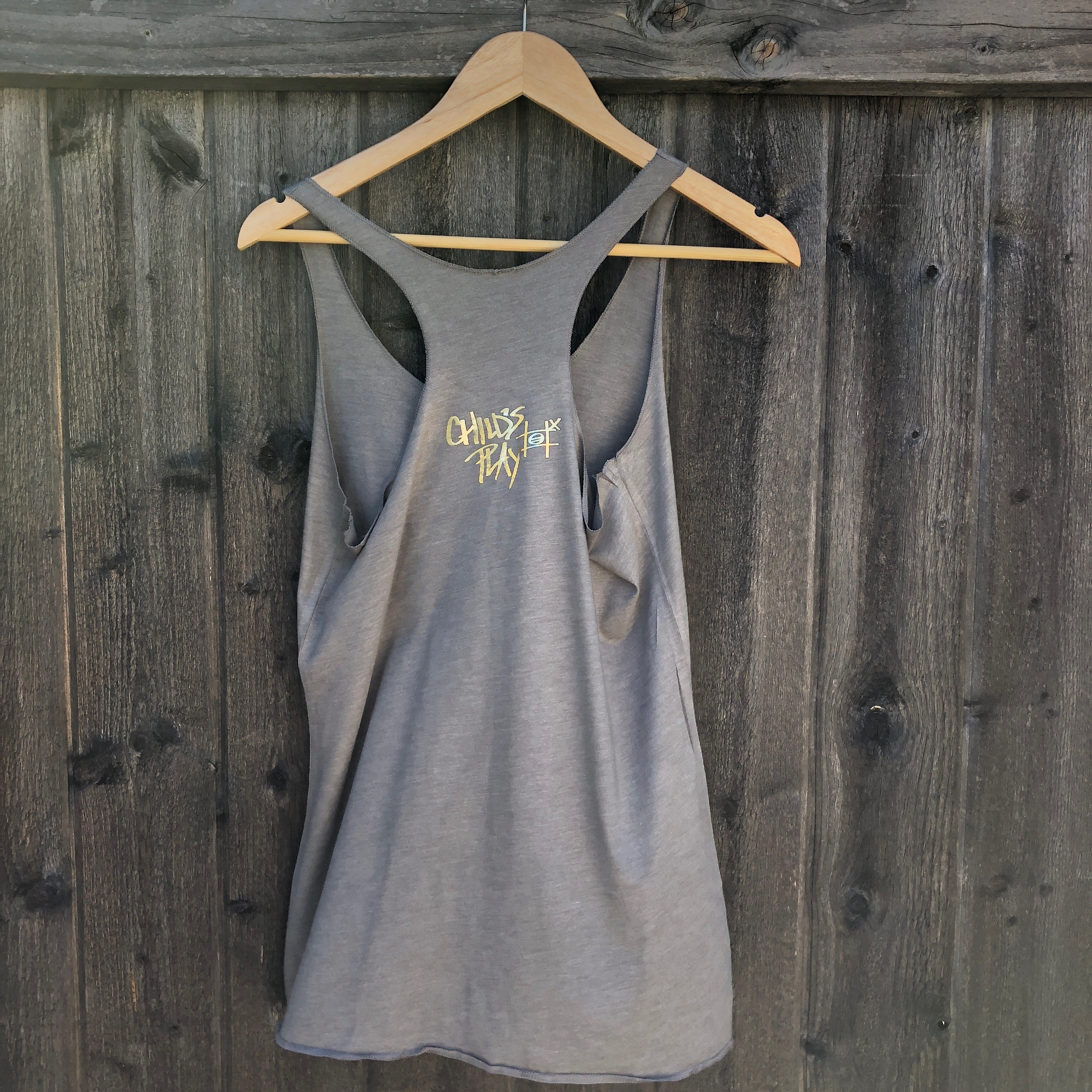 East of Eli Women's Child's Play Olive Foiled Tank Top