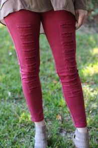 High-Waisted Distressed Jeggings-Wine