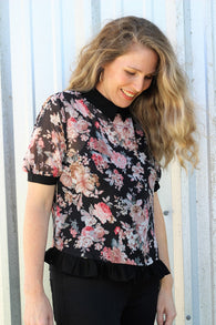 Collar Top in Floral Print