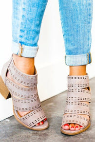 Cut-Out Block Heel Bootie Sandals