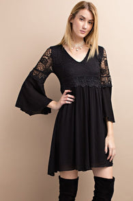 2 LEFT! Empire Dress-Black