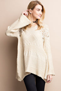 Crochet Knitted Sweater Tunic-Oatmeal