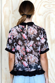 Plus Size Collar Top in Floral Print