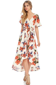 Hi-Low Floral Wrap Maxi Dress