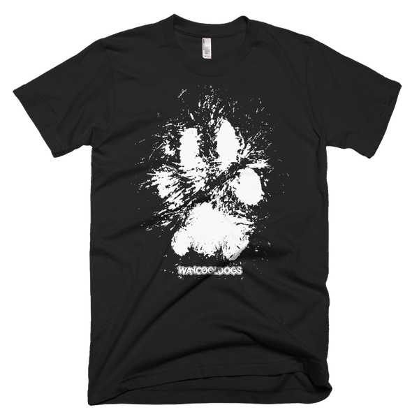 wild paw print - white print on black shirt