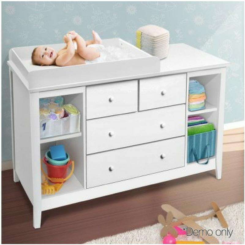 Change Table With Drawers   White