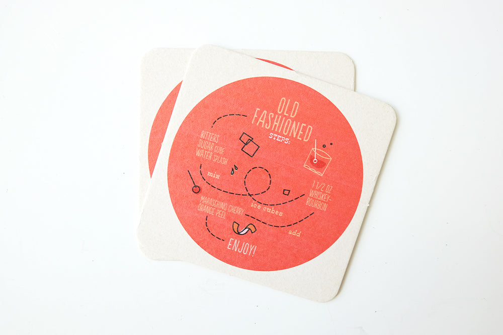 Set of 2 Old Fashioned Coasters