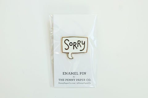 "Classic Canadian ""Sorry"" Enamel Pin"