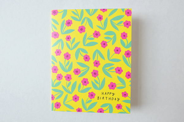 Birthday - Yellow with Pink Flowers