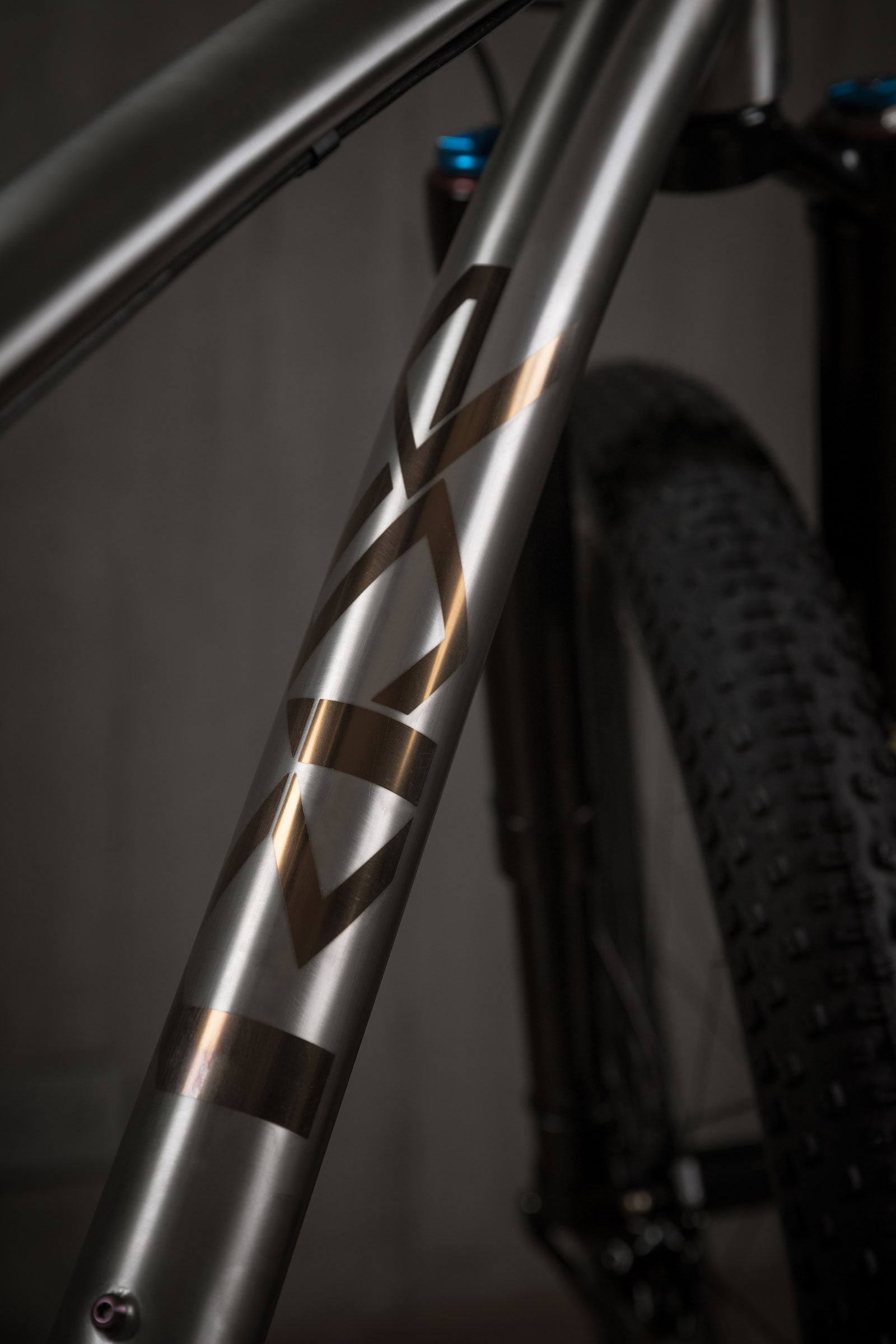 Rise Bikes Grizzly Titanium 29+ Bike Polished Bronze Anodized Decal