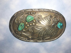 Silver & Turquoise Nuggets - Belt Buckle - Old Pawn