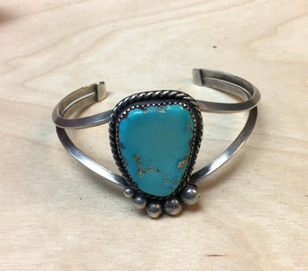 Two Wire Turquoise & Silver Bracelet - Old Pawn