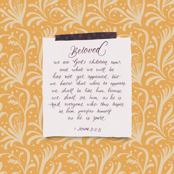 Digital illustration of a note that with a Bible verse stuck on a background of yellow patterned flowers